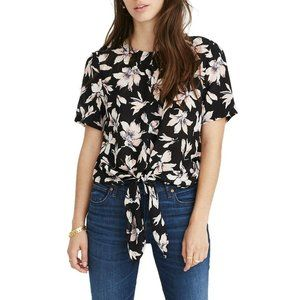 Madewell Top Floral Button Back Silk Tie Tee Sheer